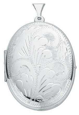 Silver Large Engraved Oval Shaped Locket