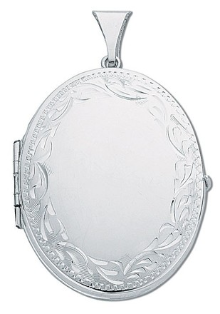 Silver Large Engraved Oval Shaped Family Locket