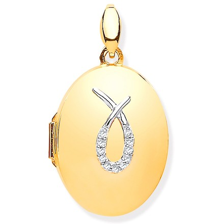 Selling: Y/G & Diamonds Oval Locket