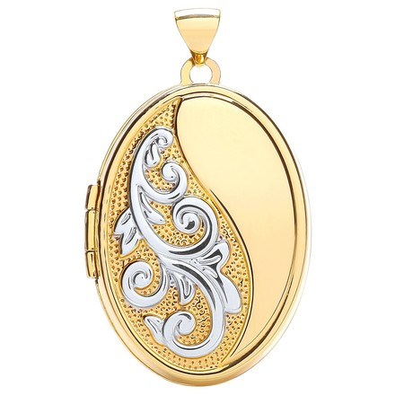 Selling: W/Y Oval Locket With Half Design