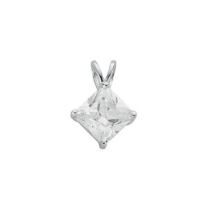 Selling: Silver Claw Set Princess Cut Cz S/S Pendant