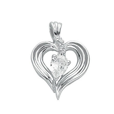 Selling: Silver Fancy Cz Heart Pendant