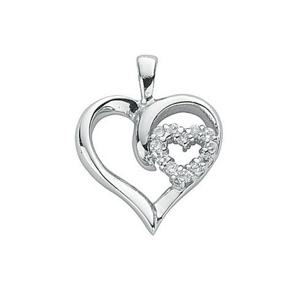 Selling: Silver Double Cz Heart Pendant