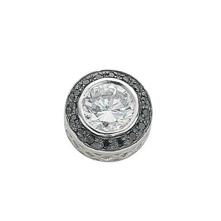 Silver Black & White Cz Drop Pendant