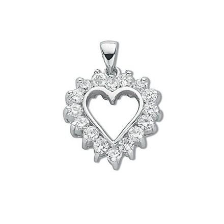Silver Claw Set Cz Heart Pendant