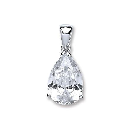 Silver S/S Pear Cz Pendant