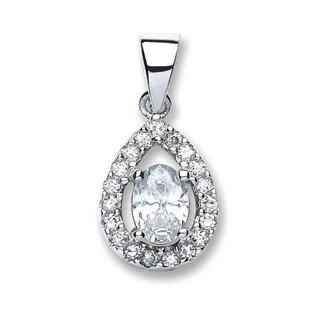 Silver Pear Shape Cz Pendant