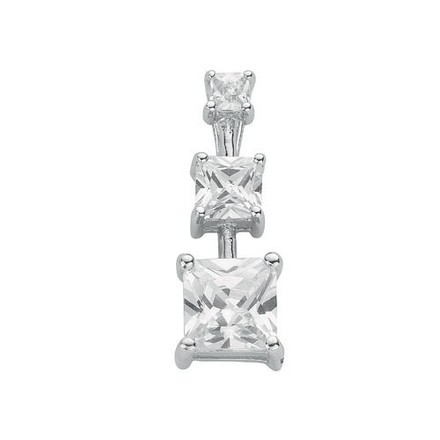 Silver Claw Set Princess Cut Cz Trilogy  Drop Pendant