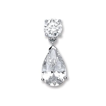 Silver Pear Cz Pendant