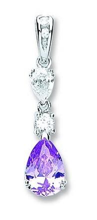 Silver Purple & White Pear Shaped Cz Drop Pendant