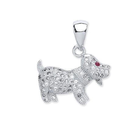 Silver Cz Dog Pendant