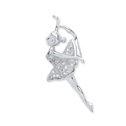 Silver Cz Ballerina Pendant