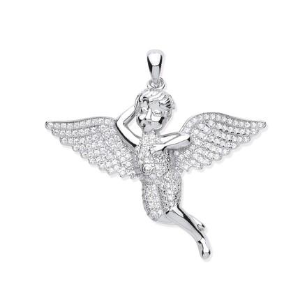 Silver CZ Cherub Angel Pendant