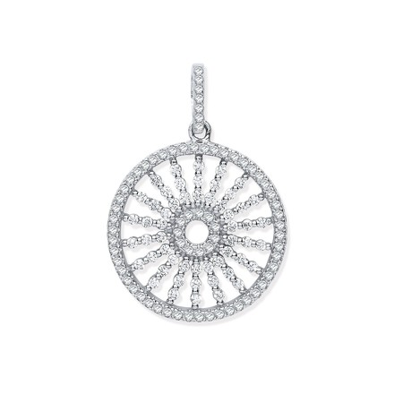 Silver Circle with Burst Lines Cz Pendant