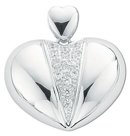Silver Fancy Pave Set Cz Heart Pendant