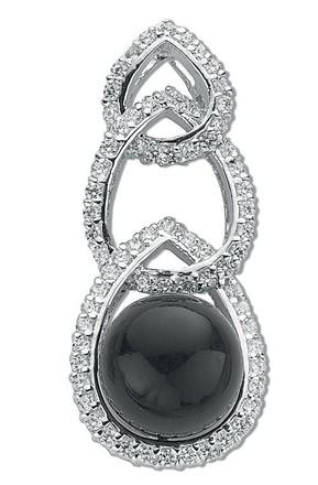 Silver Fancy Black & White Cz Drop Pendant