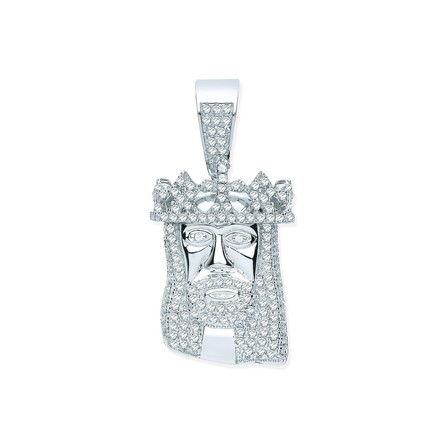 Silver CZ Pendant Jesus with Crown