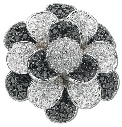 Silver Black & White Cz Flower Pendant
