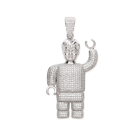 Silver CZ Lego Man Pendant