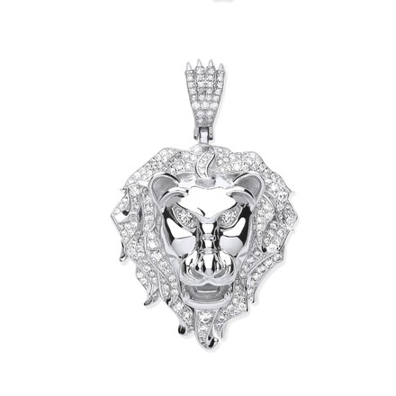 Silver CZ Lion Head Pendant