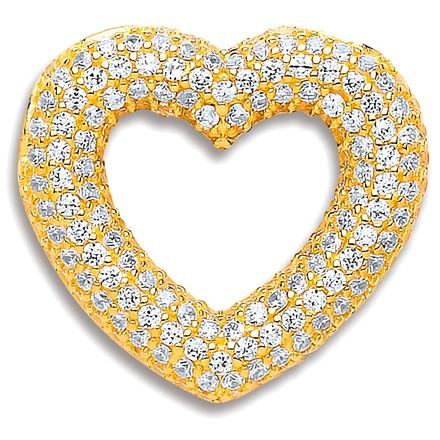 Selling: Y/G Cz 5 Row Heart Pendant