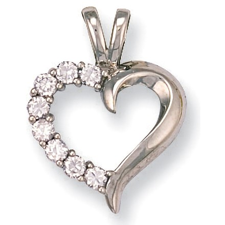 Selling: W/G Cz Heart Pendant