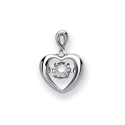 Selling: 9ct White Gold 0.06ct Dancing Diamond Heart Pendant