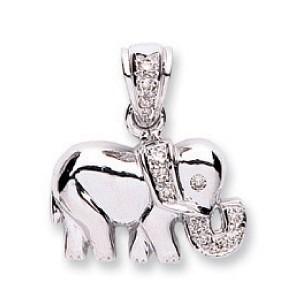 Selling: 9ct White Gold 0.07ct Diamond Elephant Pendant