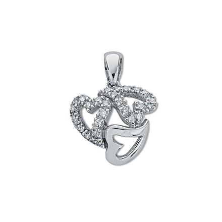 Selling: 9ct White Gold 0.13ct Diamond Heart Pendant