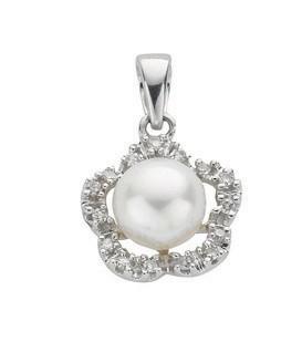 Selling: 9ct White Gold 0.10ct Diamond & Freshwater Pearl Pendant