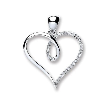 Selling: 9ct White Gold 0.10ct Diamond Heart Pendant