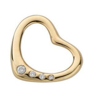 Selling: 9ct Yellow Gold 0.07ct Diamond Heart Pendant