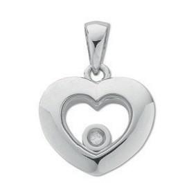 Selling: 9ct White Gold Floating Diamond Heart Pendant