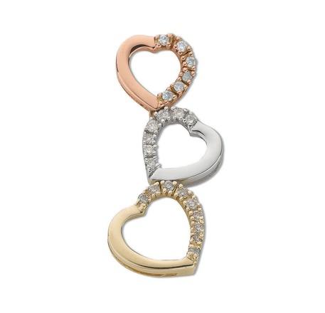 Selling: 9ct Three Colour Gold 0.15ct Diamond Heart Drop Pendant
