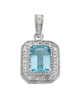 Selling: 9ct White Gold 0.10ct Diamond & 1.95ct Blue Topaz Pendant