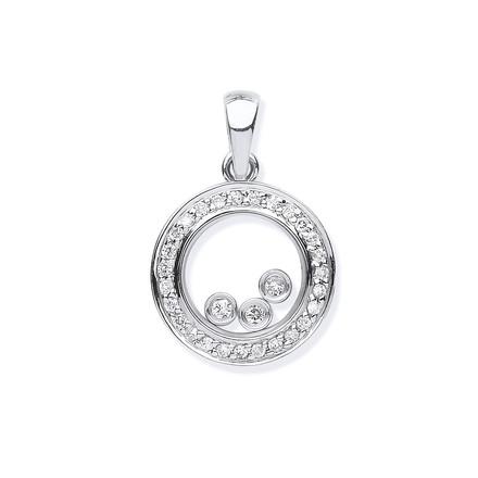 Selling: 9ct White Gold 0.12ct Floating Diamond Pendant