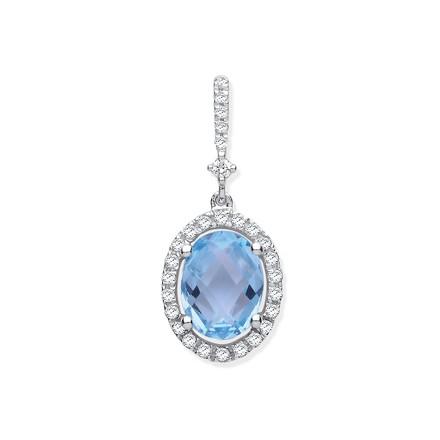 Selling: 9ct White Gold 1.77ct Oval Blue Topaz & 0.17ct Diamond Pendant