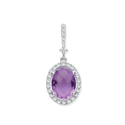 9ct White Gold 1.35ct Oval Amethyst & 0.17ct Diamond Pendant
