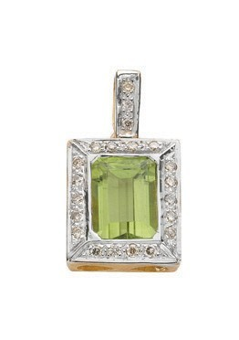 Selling: 9ct White Gold 0.16ct Diamond & 1.75ct Peridot Pendant