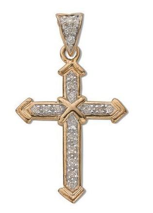 Selling: 9ct Yellow Gold 0.18ct Diamond Cross