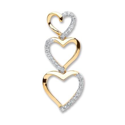 Selling: 9ct Yellow Gold 0.15ct Diamond Heart Pendant