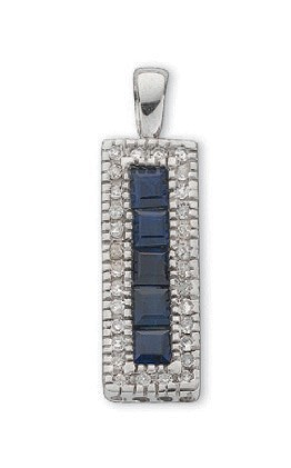Selling: 9ct White Gold 0.16ct Diamond & 0.70ct Blue Sapphire Drop Pendant