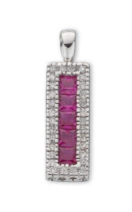 Selling: 9ct White Gold 0.16ct Diamond & 0.70ct Ruby Drop Pendant