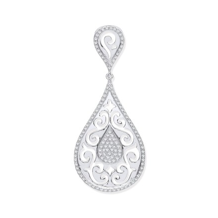 Selling: 9ct White Gold 0.25ct Pear Shaped Diamond Pendant