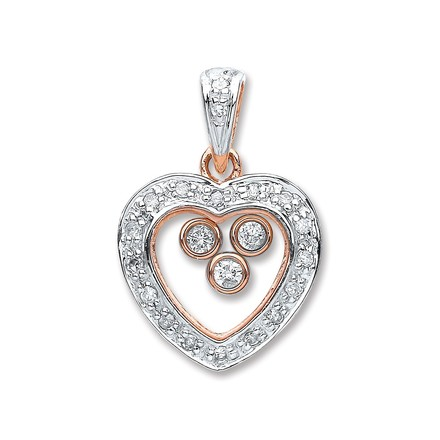 Selling: 9ct Rose Gold 0.17ct Floating Diamond Heart Pendant