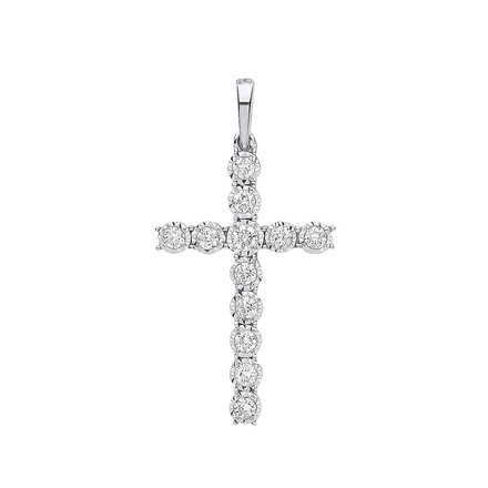Selling: 9ct White Gold 0.27ct Diamond Cross