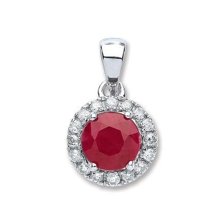 Selling: 9ct White Gold 0.15ct Diamond, 0.80ct Round Ruby Pendant