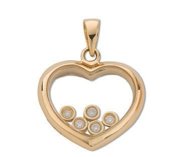 Selling: 9ct Yellow Gold 0.15ct Floating Diamond Heart Pendant