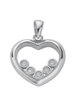 Selling: 9ct White Gold 0.15ct Floating Diamond Heart Pendant