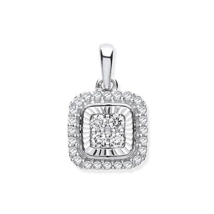 Selling: 9ct White Gold D/C Bezel Square 0.25ctw Diamond Pendant